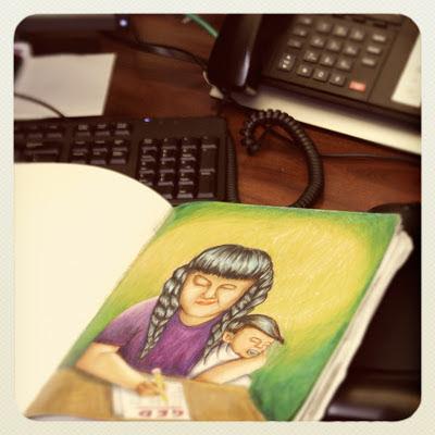 GotPrint employee's illustration at desk