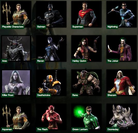الأبطال الخارقين المشاركين في اللعبة
