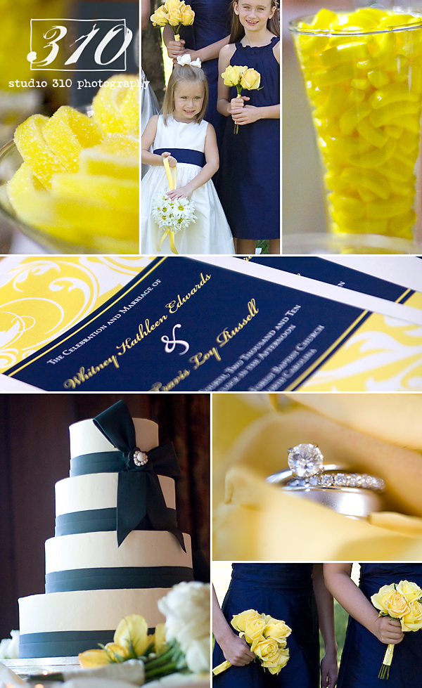 baker who made the cake also did the navy blue and yellow wedding cakes