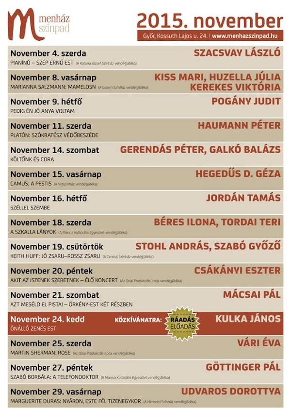 A Menház Színpad novemberi műsora