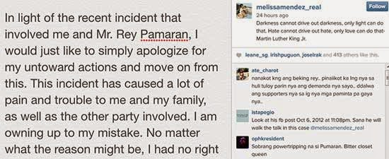 Melissa Mendez apologizes to Pamaran through Instagram