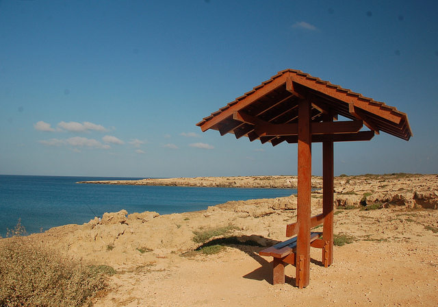 Cyprus holiday beach Fig Tree Bay pavilion