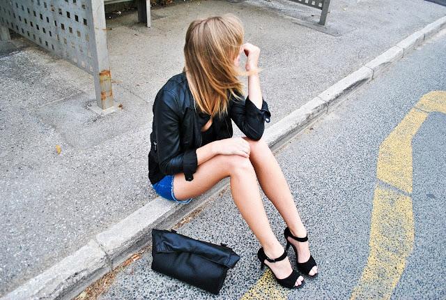 high heels, zara leather jacket, h&m jeans shorts, zara lunch bag, leather lunch bag, fashion