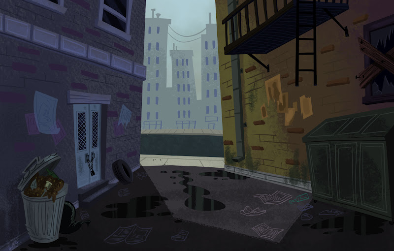 so here are some more backgrounds that i designed painted for season 2 of the ricky gervais show