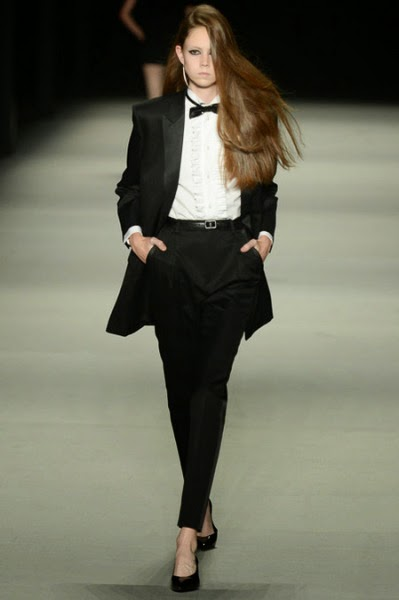 saint laurent tuxedo shirt on runway