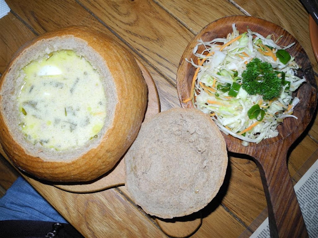 Green Borshch and Cabbage Salad in Old Mill Restaurant, Ternopil, Ukraine