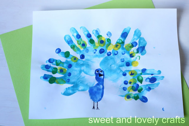 baby made: handprint peacocks