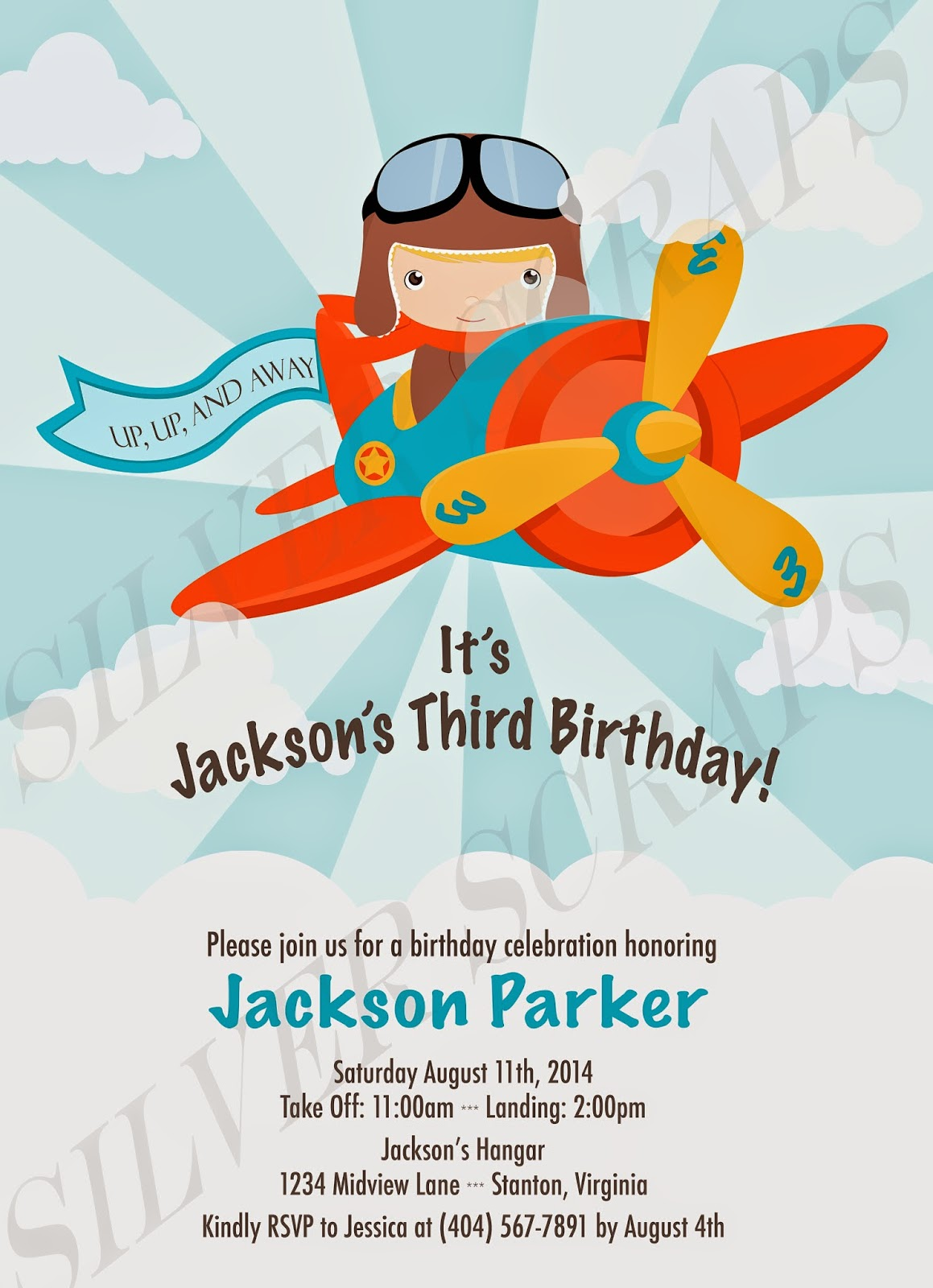 Up, Up, and Away - Custom Digital Airplane Flying in the Clouds Birthday Invitation -Boy Plane Fly Pilot Red Blue Aviator Propellers Orange orange yellow banner up up and away clouds high in the sky