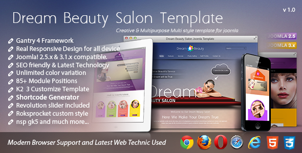 Dream – Beauty Salon Responsive Joomla Template
