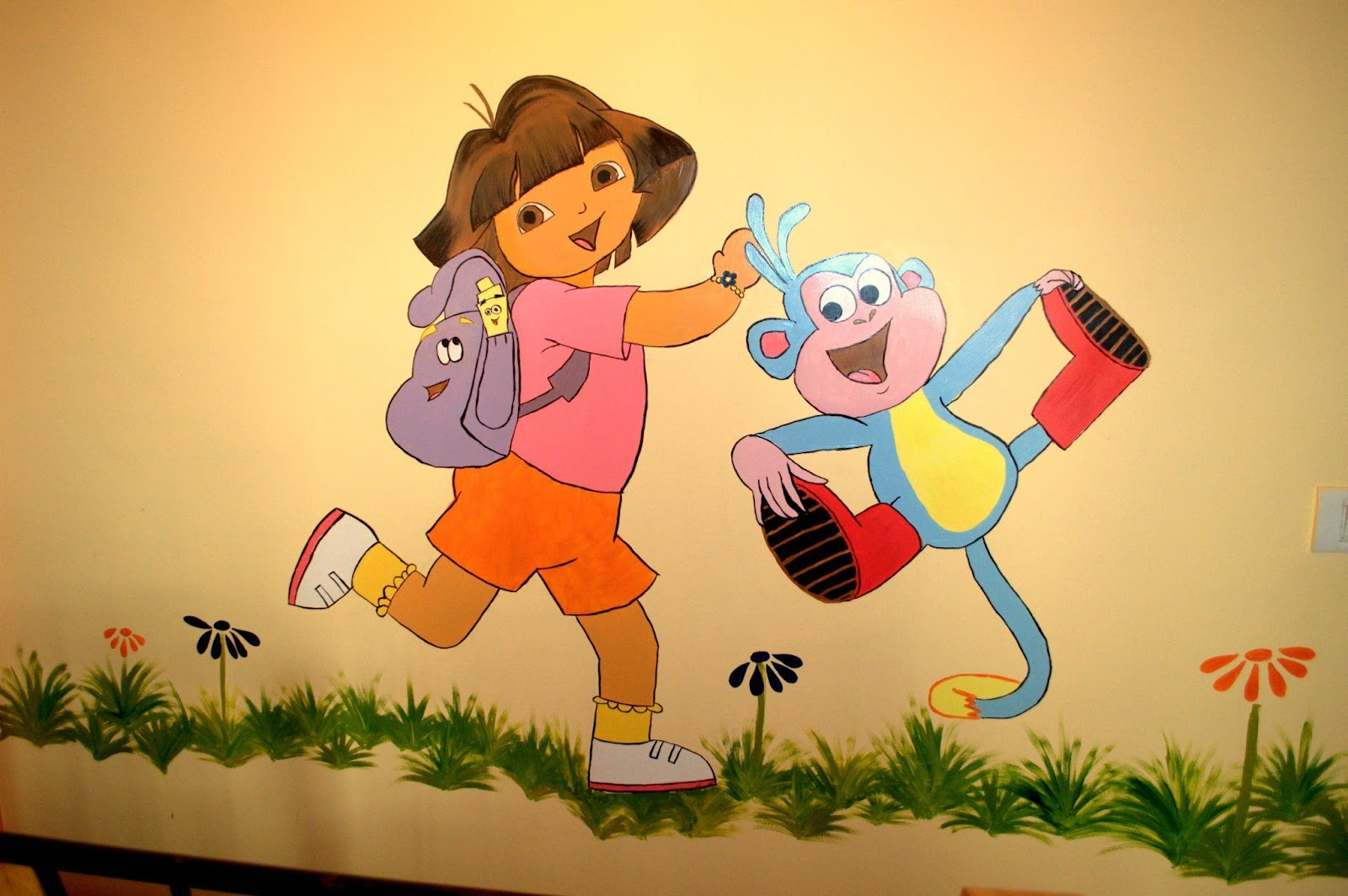 thousandoceansinside kids room wall painting dora and boots