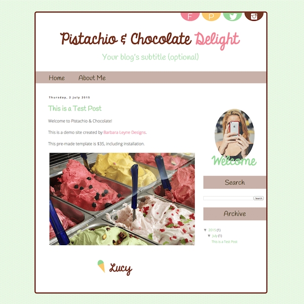 Premade Blogger Design by Barbara Leyne Chocolate, Pink, Mint, Gold