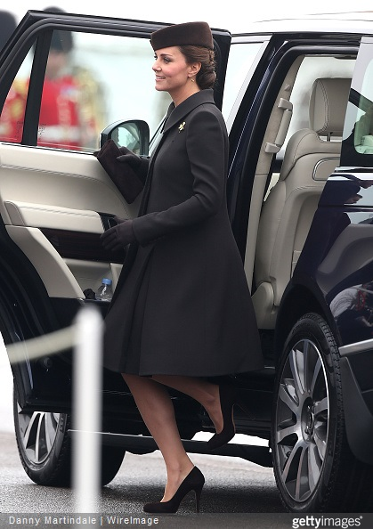 Catherine, Duchess of Cambridge arrives at the St Patrick's Day Parade at Mons Barracks in Aldershot, England. (
