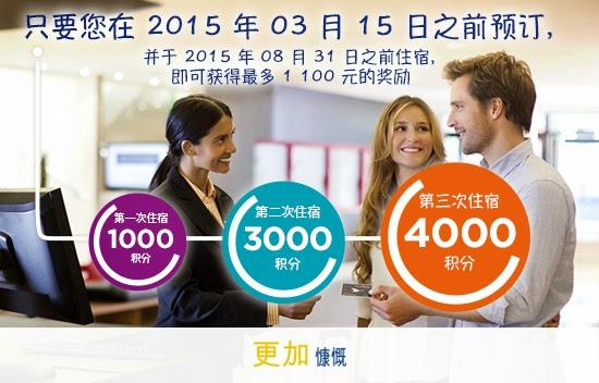 入住索菲特S、Pullman、Novotel、宜必思等酒店1至3次,可獲HK$1,100 voucher訂房用。