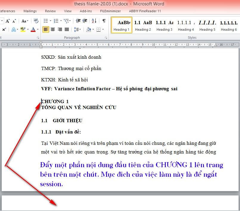 Cách đánh số trang trong Word bắt đầu từ phần nội dung Chương 1 1