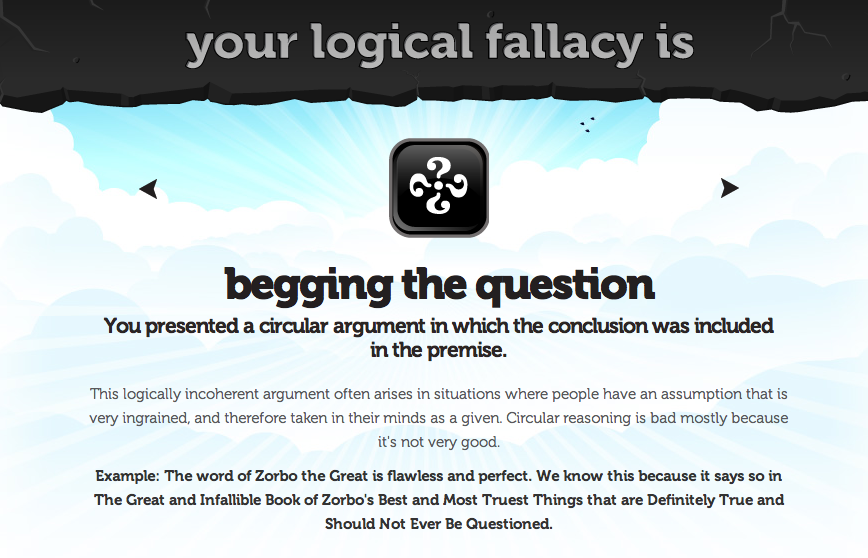 eVille Times: Logical Fallacy #20 - Begging The Question