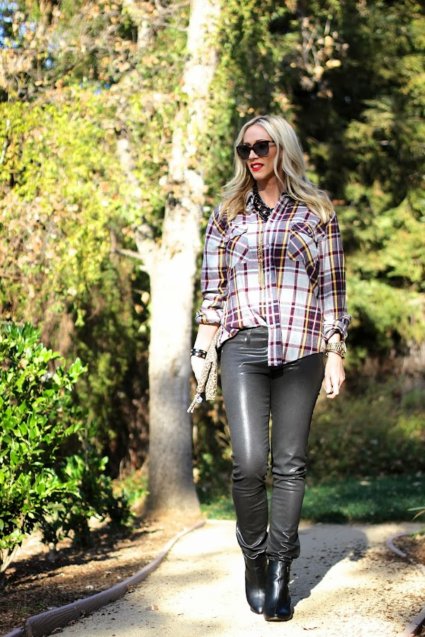 how to wear plaid and leather