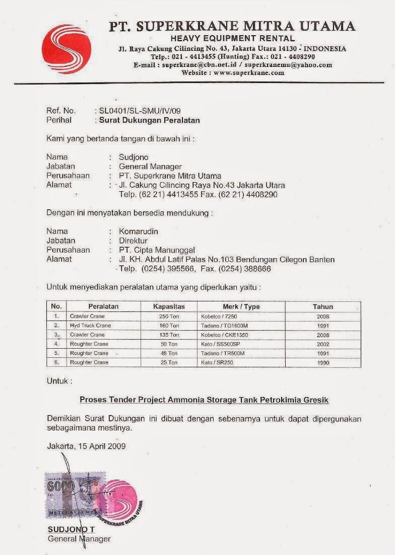 Contoh Surat Dukungan Distributor | Pengadaan (Eprocurement)