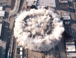 Building demolished with implosion