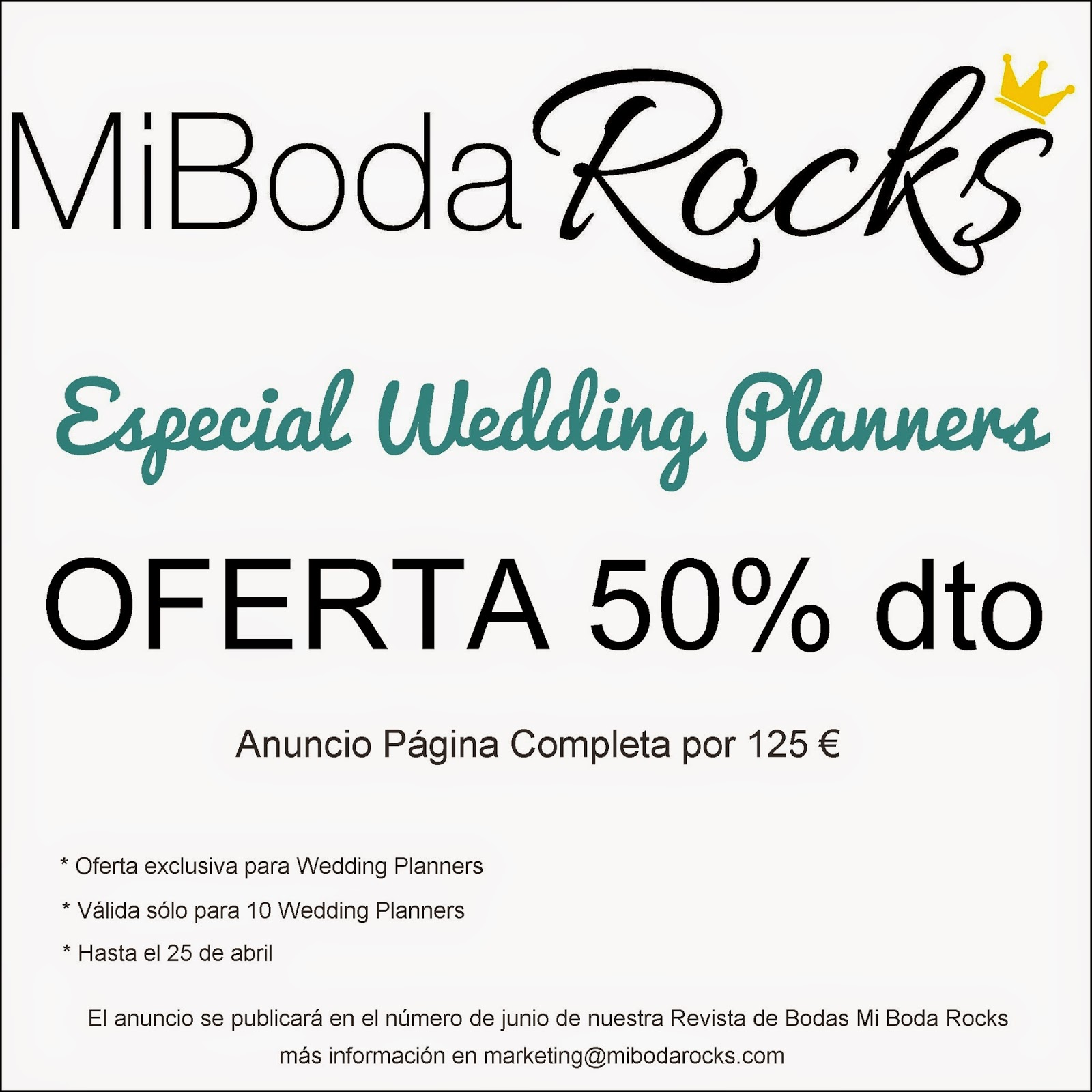Oferta Especial Wedding Planners Revista Mi Boda Rocks blog bodas