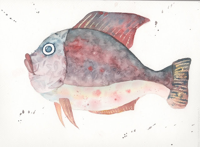 рисунок рыбы акварелью