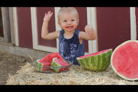 Toddler watermelon laugh