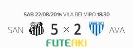 O placar de Santos 5x2 Avaí pela 20ª rodada do Brasileirão 2015