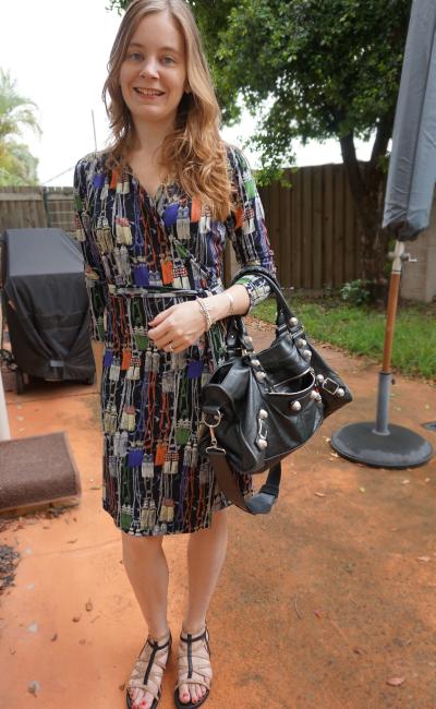 Leona Edmiston printed wrap dress Balenciaga Part time studded sandals