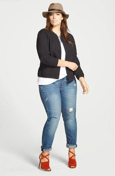 Moda plus size - moda tamanhos grandes calças ganga e t-shirts