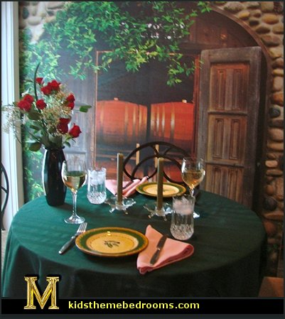 Dining Room on Tuscan Theme Dining Room Decorating The Barrel Room Wall Mural Jpg