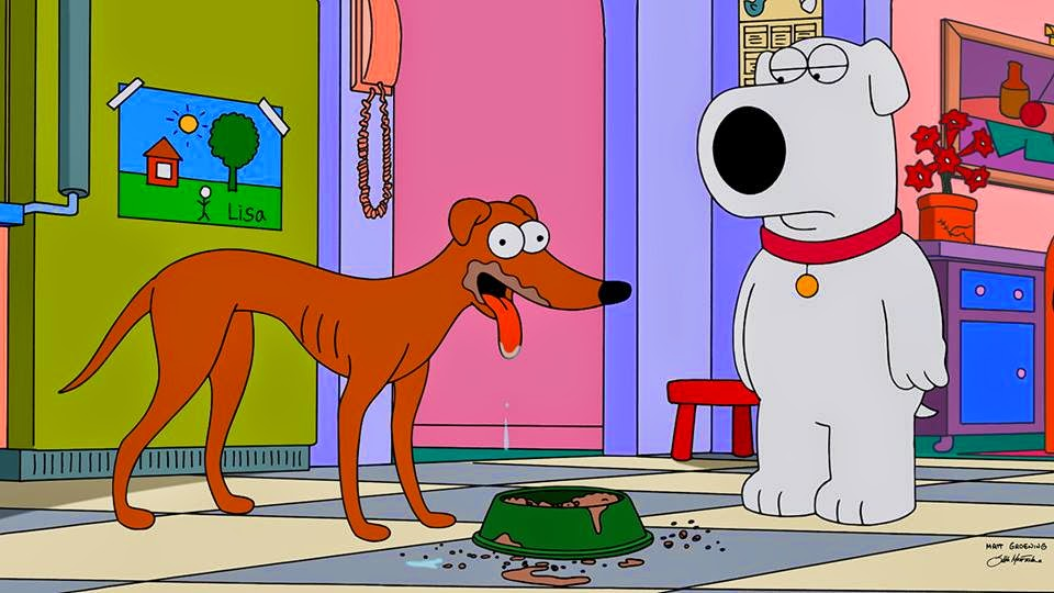 Brian meets Santa's Little Helper in The Simpsons Family Guy crossover episode