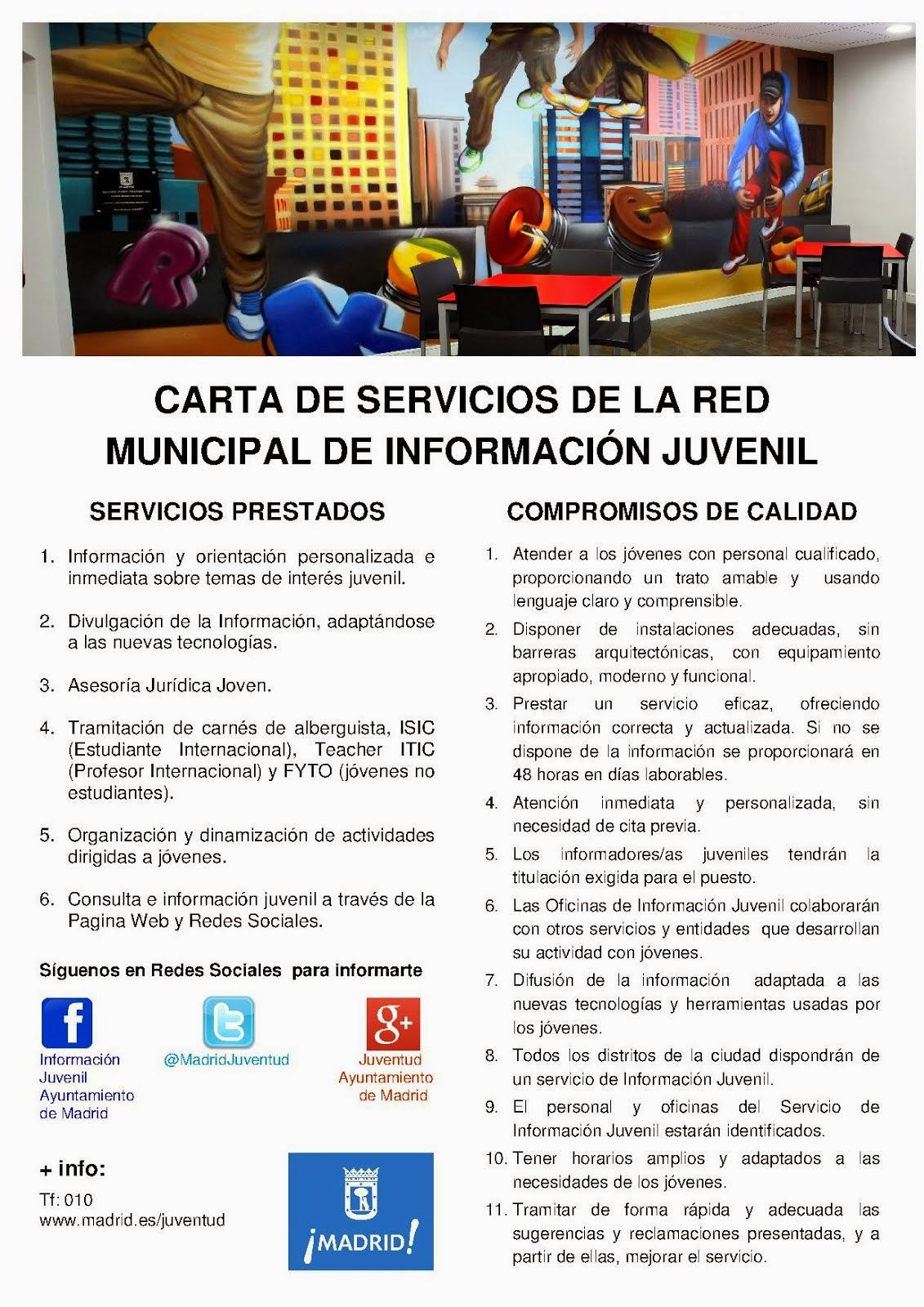 Carta de servicios del Servicio de Información Juvenil del Ayuntamiento de Madrid