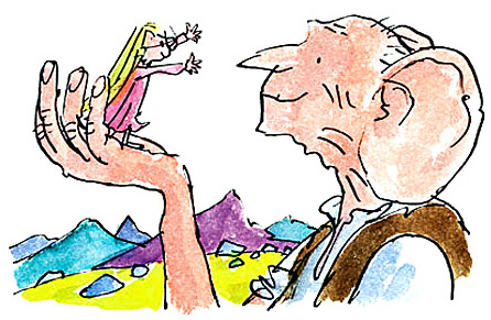 The BFG holding Sophie, a little girl, in the palm of his hand