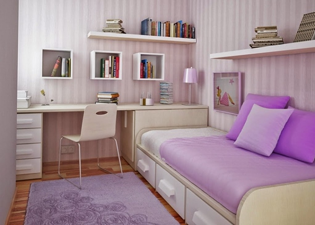 Purple bedroom designs for girls for Girl small bedroom ideas