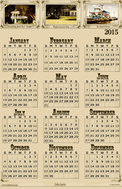 Sample sized yearly calendar with a vintage style design for the year 2015.