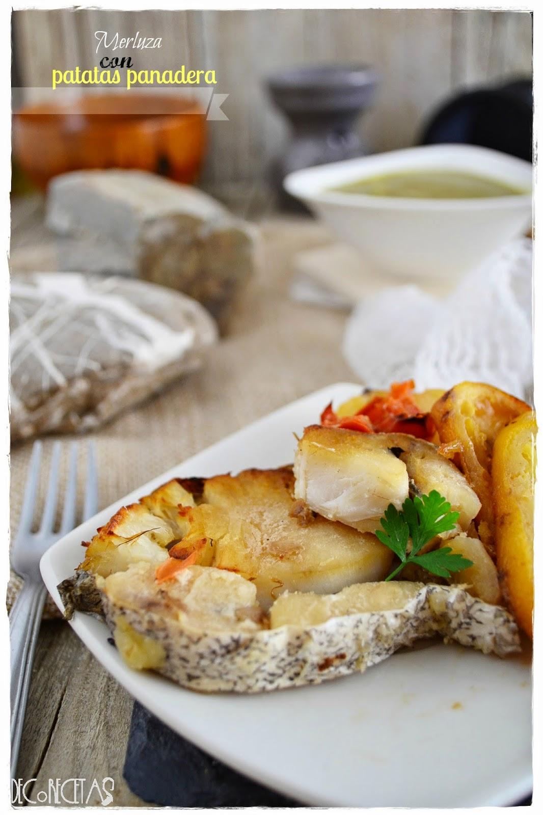 Merluza con patatas panadera