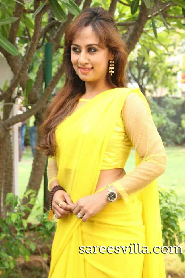 Actress Maanu In Yellow Sari