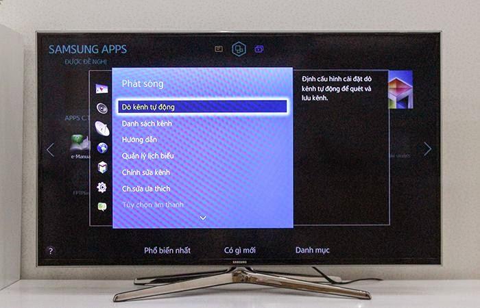 Chọn Dò kênh tự động trong bảng chọn phát sóng