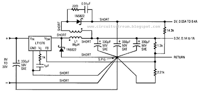 3.3V And 5V Outputs - Dc-Dc Converter Circuit Diagram