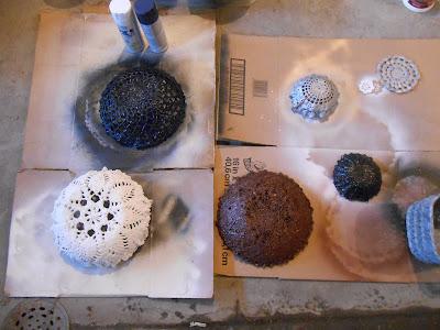 Painted Cement lace bowls