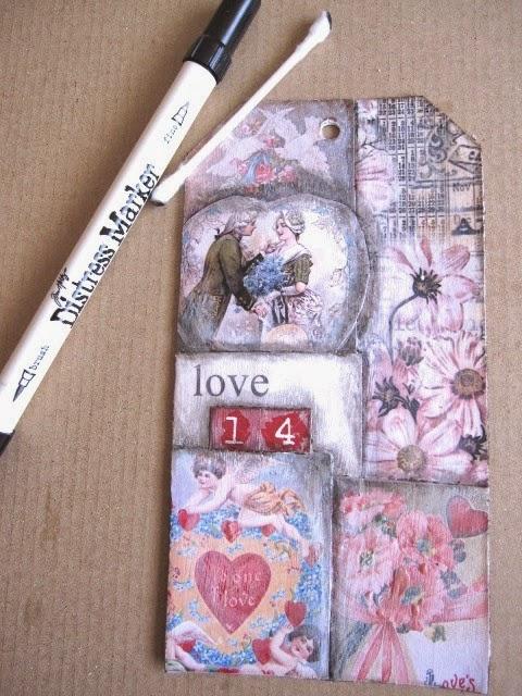 quinto paso tag febrero: tag con collage imágenes vintage románticas envejecido con Distress Marker negro y bastoncillo de algodón