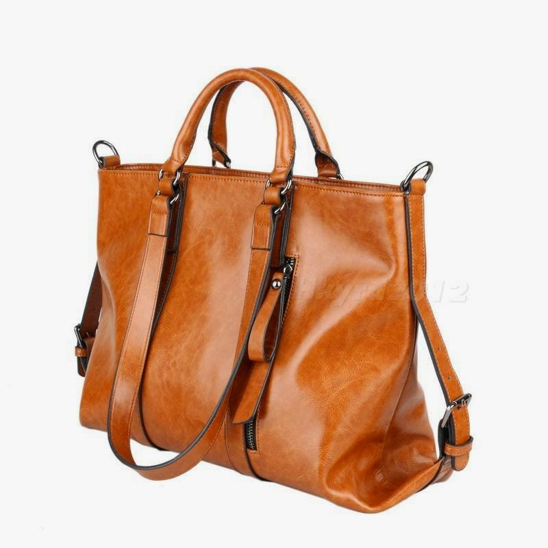 Fashion Vintage Womens Lady Oil Leather Handbags Shoulder Bags Tote HYDG