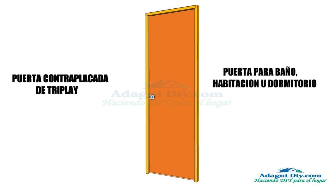 Como hacer una puerta de ba o u habitaci n contraplacada for Como hacer una puerta de madera