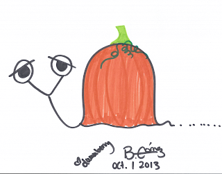 Dummberry as a solid orange pumpkin for Happy October 1st Day 2013 - BeckyCharms & Co.