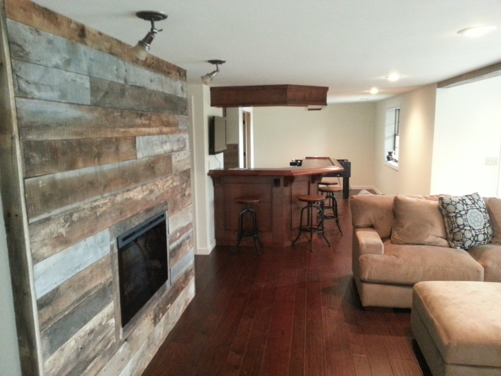 Barn Board Fireplace Wall