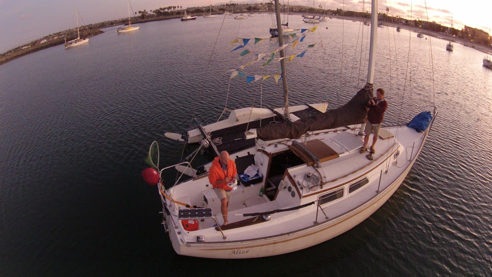 flying drone on sailboat