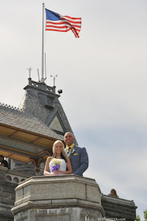 Telephoto shot of bride and groom on Belvedere Castle