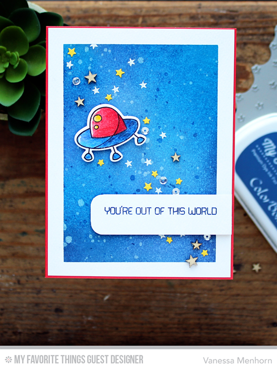 Out of This World Card by Vanessa Menhorn featuring the Out of This World stamp set and Die-namics, Starry Night Background Builder stamp, and the Stars the Sky - Horizontal Die-namics #mftstamps