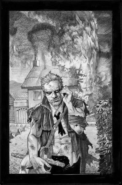 Dessin de Simon Bisley représentant un homme s'éloignant d'une ferme en feu