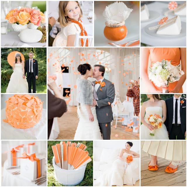 orange and white wedding colors