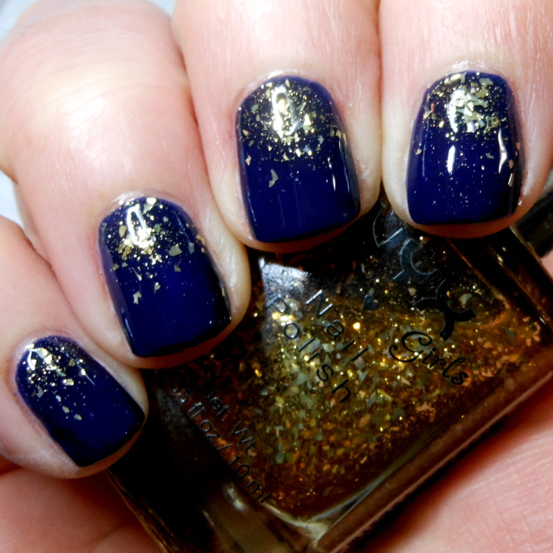 imperfectly painted dark blue gold glitter gradient